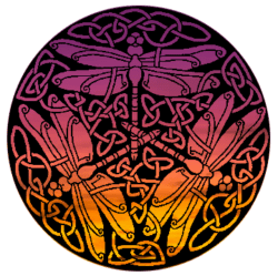 triple dragonfly celtic seal of the Dragonfly Temple of Whocate - sunset